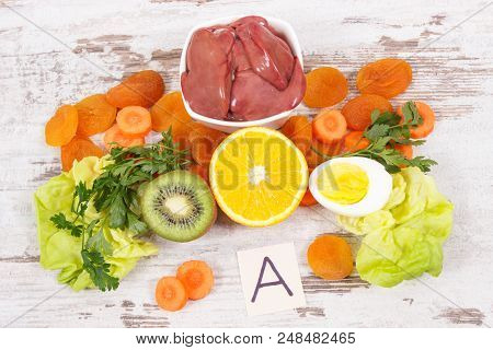 Nutritious eating containing vitamin A and dietary fiber, healthy nutrition as source natural minerals poster