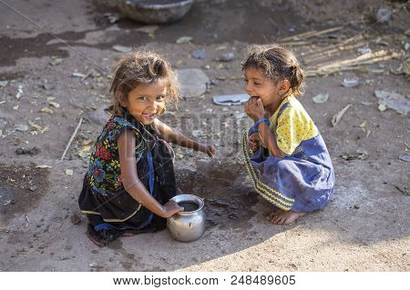 Mandu, India - February 03, 2017 : Unidentified Indian Poor Children On The Street. Poverty Is A Maj