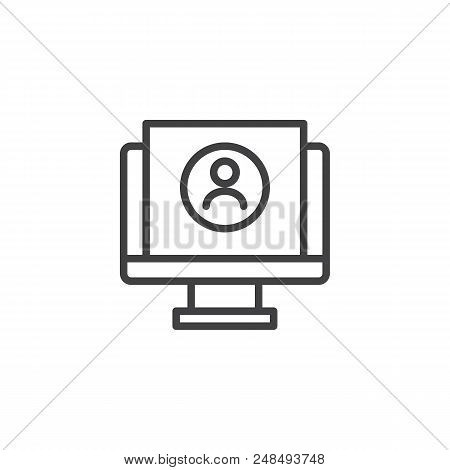 Resume Cv Monitor Outline Icon. Linear Style Sign For Mobile Concept And Web Design. Send Resume Sim