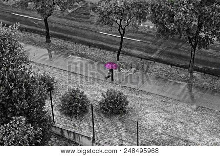 Woman Walking Down The Street Whit Red Umbrella At Rainy Day/ Concept For Bad Weather, Winter Or Pro