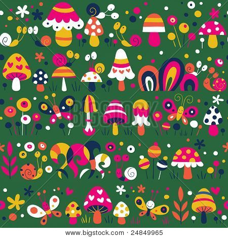 mushrooms snails butterflies pattern