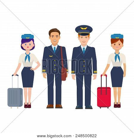 Group Of Pilots And Flight Attendants With Luggage On White Background. The Flight Crew Of Commercia