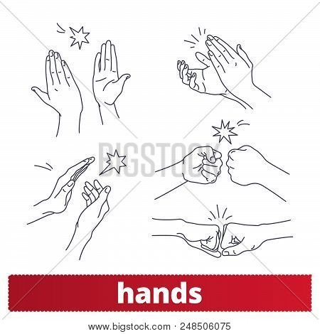Hand Gestures Thin Line Icons. Applause, Fist Bump, High Five Linear Style Signs. Body Language, Non