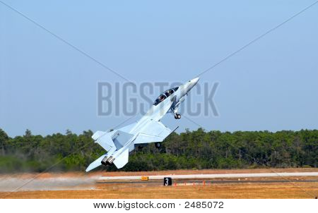 F-18 Jet In A Steep Takeoff
