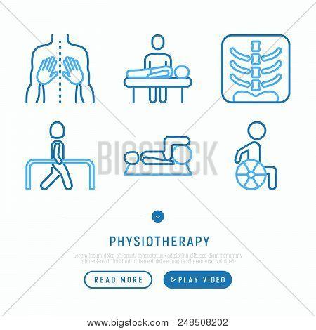Physiotherapy Thin Line Icons Set: Rehabilitation, Physiotherapist, Verterbra, Massage, Go-carts; Wh