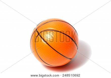 Basketball Ball Over White Background. Basketball Isolated. Orange Color Basketball. Single Basketba