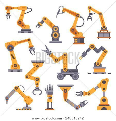 Robotic Arms Set. Manufacturing Automation Technology. Industrial Tools Mechanical Robot Arm Machine