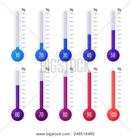 Thermometers With Different Temperatures. Goal Measurement Heat Infographic Thermometer Hot And Cold