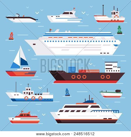 Sea Ships. Cartoon Boat Powerboat Cruise Liner Navy Shipping Ship Sailing Yacht Speed Floating Sea B