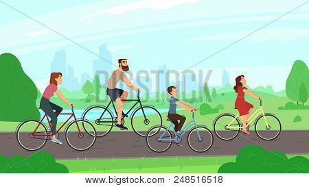 Happy Young Family Riding On Bikes At Park. Parents And Kids Girl Boy Laughing City Ride Bicycles. S