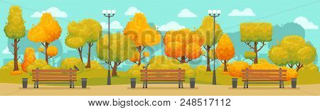 Cartoon Autumn Park Panorama. Autumnal City Parks Road Street With Yellow And Red Trees Outdoor Walk