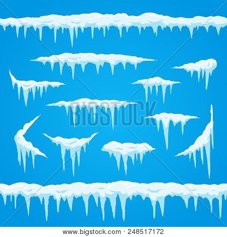 Cartoon Icicles Ice Cap. Winter Frosted Snow Frame For Snowfall Icy Blue And White Sign. Top Of Snow