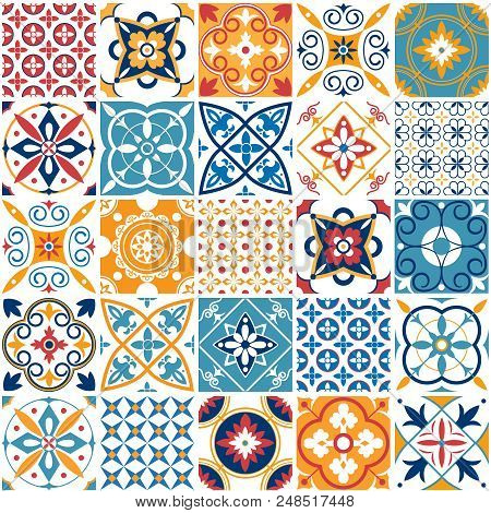 Portugal Seamless Pattern. Vintage Mediterranean Ceramic Tile Texture Retro Symmetrical Shapes Azule