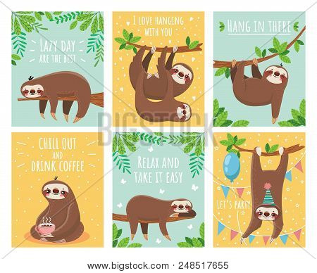 Greeting Card With Lazy Sloth. Cartoon Cute Sloths Cards With Motivation For Party Sleepy Pajama Chi