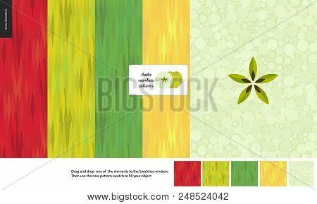 Food Patterns, Flat Vector Illustration - Apple Texture, Small Half Of Green Apple Image, Five Seaml