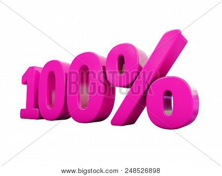 3d Illustration Pink 100 Percent Discount Sign, Sale Up To 100, 100 Sale, Pink Percentages Special O