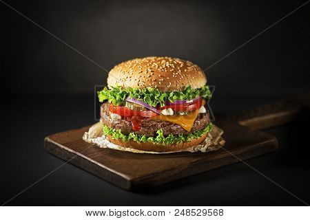 Homemade Hamburger Or Burger With Fresh Vegetables And Cheese