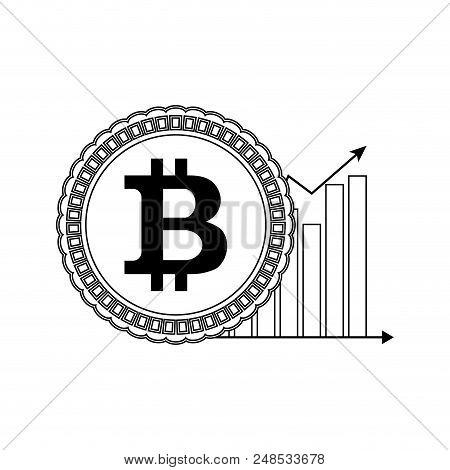 Price Bitcoin Up Line Style. Coin And Chart Arrow. Vector Illustration