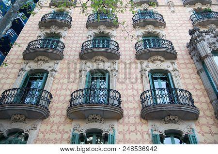 Barcelona, Spain - March 30, 2016: Balconies On Casa Ramos Building Facade In Barcelona. Modernist A
