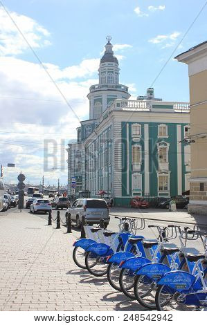 St. Petersburg, Russia - June 25, 2018: City Bike Rental And Bike Sharing Station In Front Of Kunstk