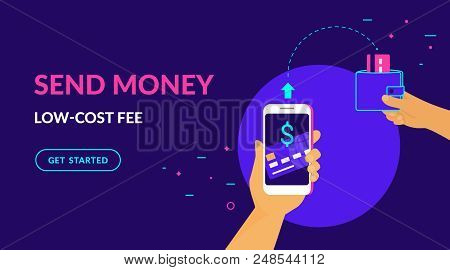 Send Money Low-cost Fee Flat Vector Neon Illustration For Ui Ux Web And Mobile Design With Text And
