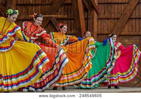 Romania, Timisoara - July 8, 2018: Dancers From Mexico In Traditional Costumes, Present At The