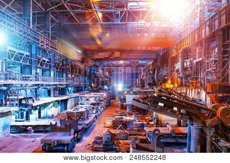 Interior Of Metallurgical Plant Industrial Workshop With Open Hearth Furnace And Heavy Industry Manu