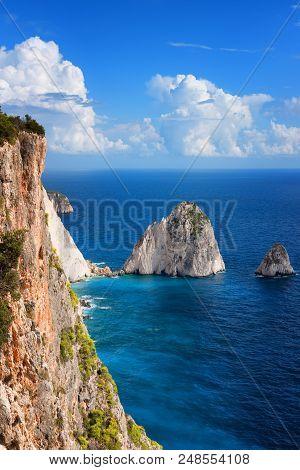The Mizithres, Small And Big. Amazing Rock Formations On Keri Cape, Zakynthos Island. Greece.