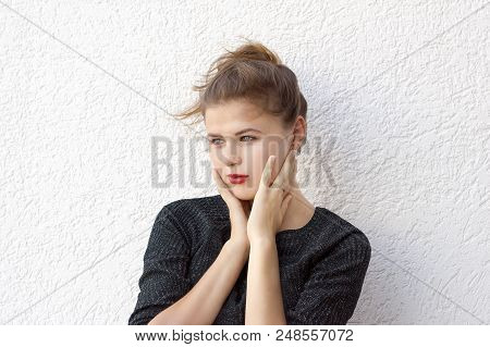 Portrait Of Stunning Dreaming Female. Adorable Girl With Magnificent Glance Looking Away And Thinkin