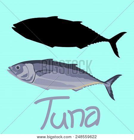 Tuna Fish Vector Illustration Flat Style Black Silhouette Set