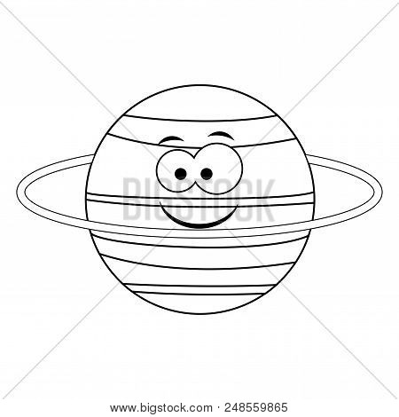 Colorless  funny cartoon Uranus  planet. Vector illustration. Coloring page. Preschool education. poster