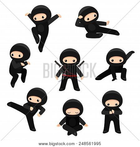 Vector Set Of Cute Ninjas In Various Poses Isolated On White Background