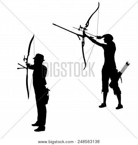 Set Silhouette Attractive Female And Male Archer Bending A Bow And Aiming In The Target.