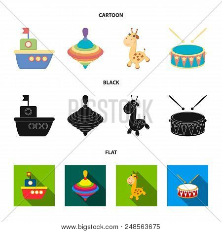 Ship, Yule, Giraffe, Drum.toys Set Collection Icons In Cartoon, Black, Flat Style Vector Symbol Stoc