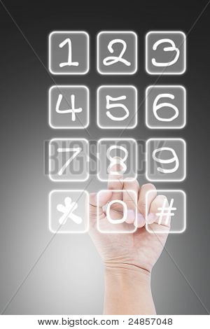 hand pushing transparent telephone buttons