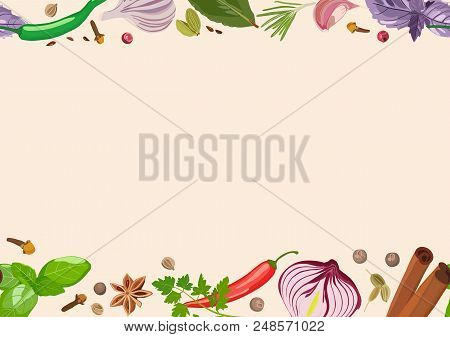 Vector Spice Banner With Various Seasonings On Light Background. Red Chili Peppers, Bay Leaves, Cinn