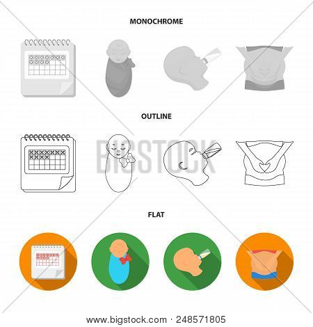 Calendar, Newborn, Stomach Massage, Artificial Feeding. Pregnancy Set Collection Icons In Flat, Outl