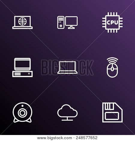 Hardware Icons Line Style Set With Internet, Notebook, Pc And Other Pc  Elements. Isolated  Illustra