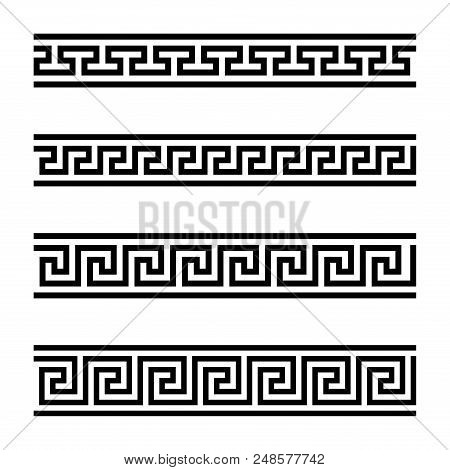 Four Seamless Meander Designs. Meandros, A Decorative Border, Constructed From Continuous Lines, Sha