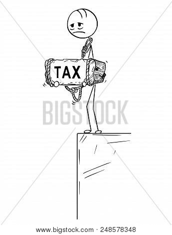 Cartoon Stick Drawing Conceptual Illustration Of Sad And Depressed Man Or Businessman Standing On Ed
