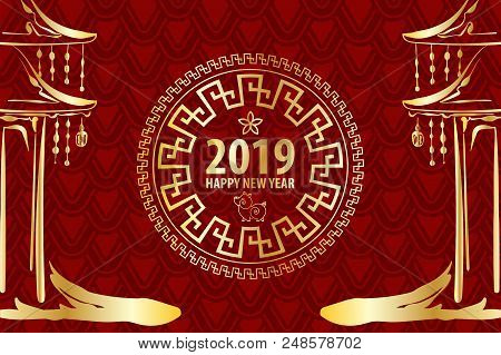 2019 Chinese New Year Yellow Pig. Golden Asian Pagoda Frame. Red Holiday Pattern. Traditional Holida