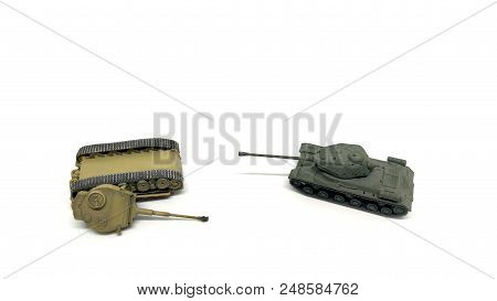 Battle Of Toy Tanks Isolated On White Background