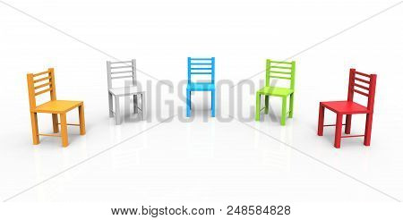 Colorful Chairs Isolated On White Background. Means Meeting, Duty, Discuss. 3d Illustration.
