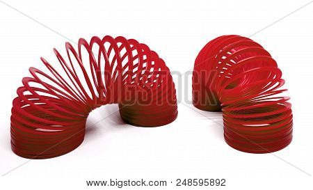 Bangkok, Thailand - March  20, 2018 : Red Slinky Spring Toy Isolated On White Background. Illustrati