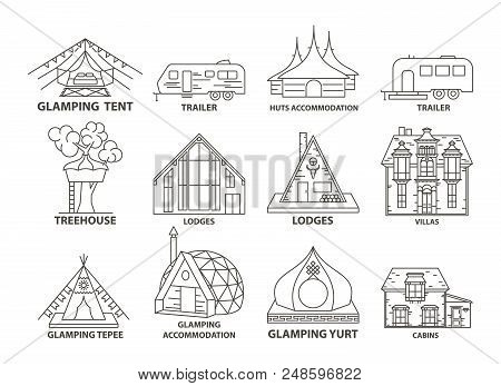 Glamping Accomodation Line Icon Set With Native Indian Tepee And Treehouse, Villa And Yurt, Lodges A