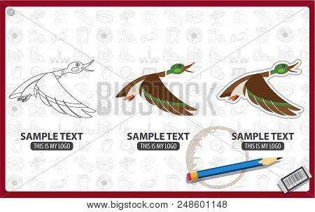 Mallard Duck Flying Logo, Bird, Animal Vector Illustration