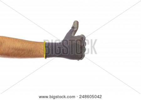 Thumb Up Gesture Or Hand Counting One, Gloved Hand,  Isolated On White Background, Clipping Path