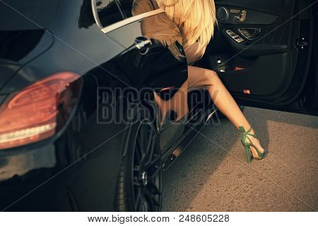 Glamorous Life. Business Trip Or Commanding, Call Girl. Businesswoman Or Pretty Girl In Car. Young W