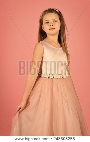 small model. Little girl in fashionable dress, prom. little girl or kid in prom dress. poster
