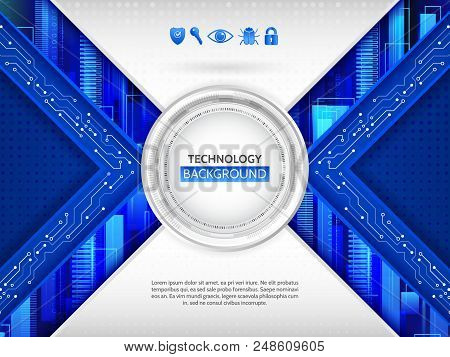 Abstract Technology Background With Various Technology Elements And Data Protection Icons. Hi-tech C